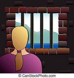 femme, prison, captivité, détenu