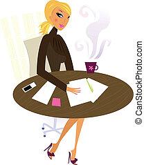 femme professionnelle, travail, bureau