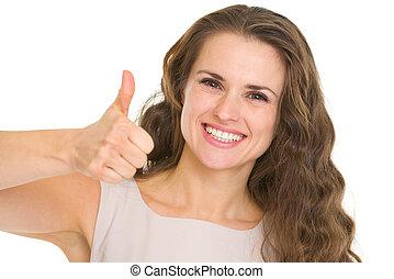 femme, projection, jeune, haut, pouces, portrait, sourire, robe