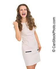 femme, projection, jeune, oui, robe, geste, heureux