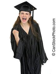 femme, projection, remise de diplomes, étudiant, oui, sourire, geste