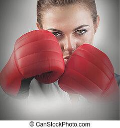 femme, puissant, boxeur