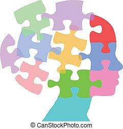 femme, puzzle, esprit, pensée, faces, problème