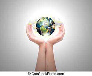 femme, réseau, meublé, ceci, nasa), (elements, mains, deux, social, la terre, prise, image