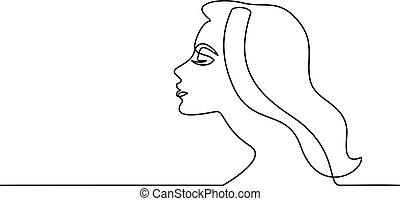 femme, résumé, jeune, closeup, joli, portrait