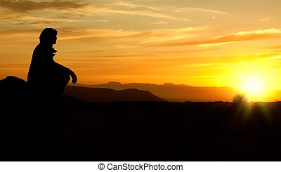 femme, rectified, coucher soleil, bords, rugueux, silhouette