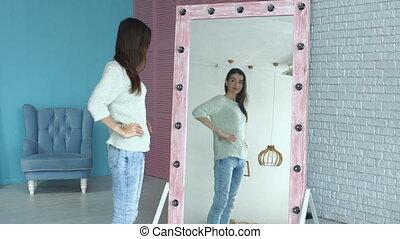 femme, reflet, admirer, élégant, miroir, elle-même