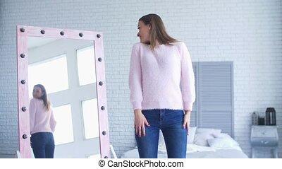 femme, reflet, elle, admirer, miroir, agréable