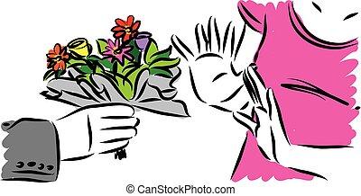 femme, refuser, illustration, vecteur, fleurs, homme