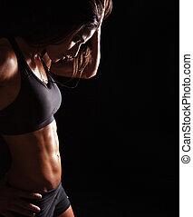 femme relâche, jeune, séance entraînement, sports, elle, après