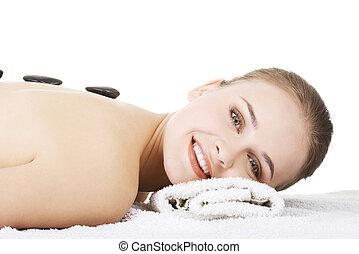femme relâche, pierre, beauté, spa., massage.