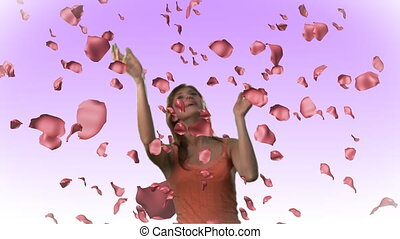 femme, roses, tomber, hd, attraper