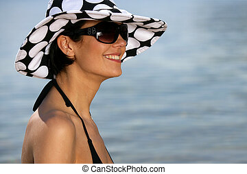 femme, séduisant, mer