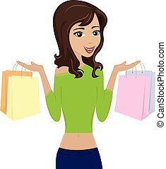 femme, sacs, achats