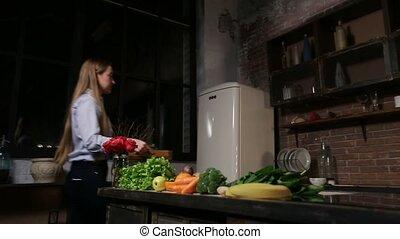 femme, sain, cuisine, jeune, smoothie, cuisine
