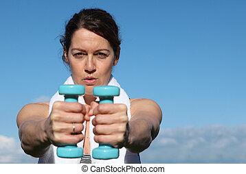 femme, sain, exercisme, milieu, poids, vieilli