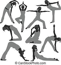 femme saine, poses, yoga, exercice