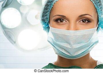 femme, salle, docteur, casquette, masque, jeune, figure, intérieur, chirurgie