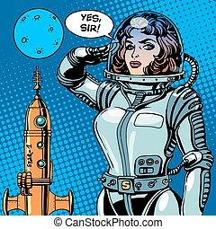 femme, science-fiction, astronaute, capitaine, vaisseau spatial