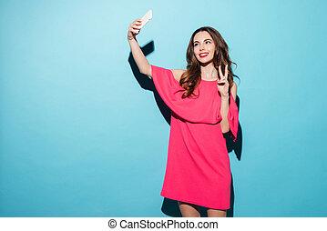 femme, selfie, paix, jeune, confection, robe, projection, geste
