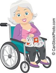 femme, service, fauteuil roulant, illustration, chat, personne agee