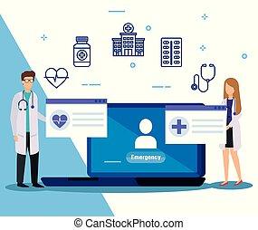 femme, service, monde médical, médecins, ordinateur portable, homme