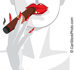 femme, sexy, cigare fumant, rouges