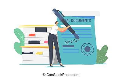 femme, signer, cachet, stylo, certificat, stamp., professionnel, avocat, caractère, service, minuscule, énorme, avocat, ou, notary