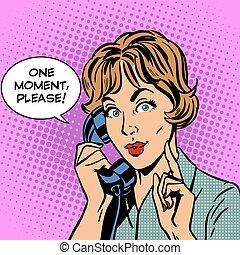 femme, s'il vous plaît, une, téléphone, moment, parle