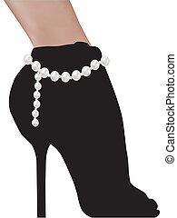 femme, silhouette, chaussures, hauts talons, élégant