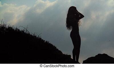 femme, silhouette, ciel, jeune, longs cheveux, fond