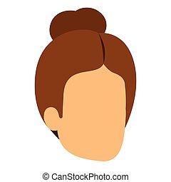 femme, silhouette, coloré, chignon cheveux, anonyme