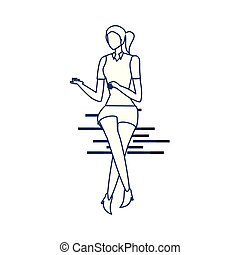 femme, silhouette, fond blanc