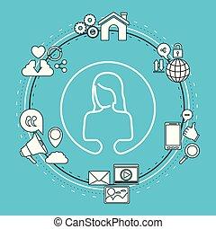 femme, silhouette, icônes, couleur, cadre, part, technologie, fond, internet, closeup, anonyme, circulaire