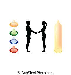 femme, silhouette, -, illustration, dénudée, tenant mains, homme