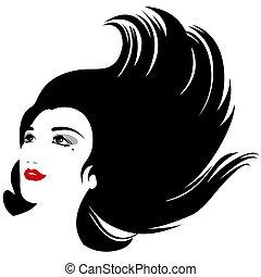 femme, silhouette, isolé, cheveux, vecteur, écoulement