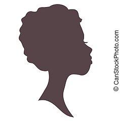femme, silhouette, jeune, figure, girl., joli, head., agréable