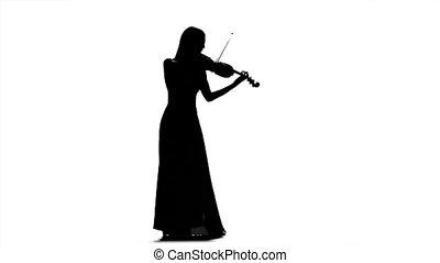 femme, silhouette, viola., mouvement, arrière-plan., lent, blanc, jouer