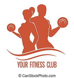 femme, silhouettes, muscled, fitness, logo, homme