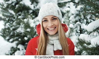 femme, soleil hiver, jeune, forest., chaud, joli, rayon