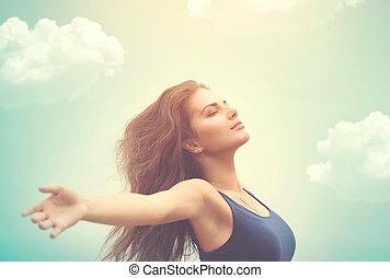 femme, soleil, sur, ciel, gratuite, heureux