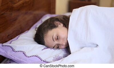 femme, sommeil, haut, réveille