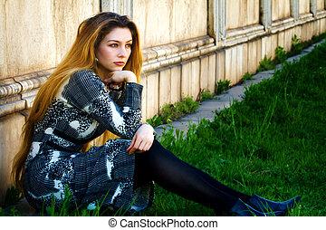 femme, songeur, séance, solitude, -, triste, seul