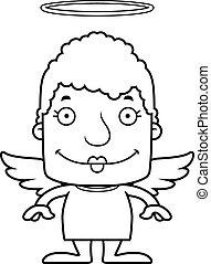 femme souriante, dessin animé, ange