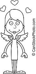 femme souriante, dessin animé, cupidon