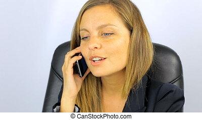 femme souriante, fâché, business