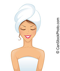 femme souriante, serviette, jeune