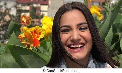 femme, sourire heureux, femme
