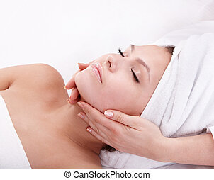 femme, spa., jeune, facial, massage.