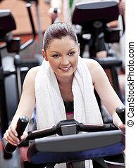 femme, sport, portrait, positif, exercices, centre